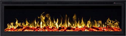 AFLAMO ROYAL Chimenea eléctrica, (750 W o 1500 W), simulación de fuego LED, profundidad de solo 15 cm (126 x 43 x 15)