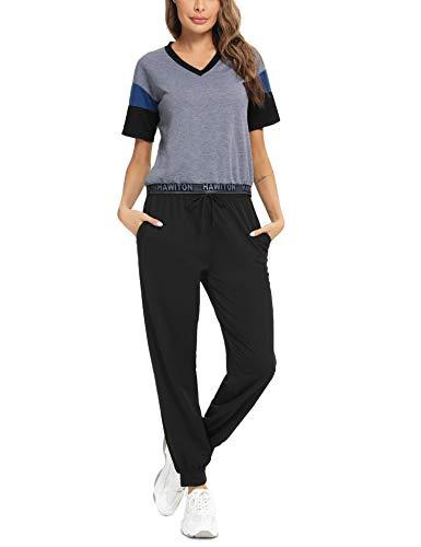 Hawiton tuta ginnastica da donna,elegante tuta ginnastica completa donna in cotone,camicia a manica corta +Pantaloni con tasche Sportwear due Pezzi,per yoga fitness jogging