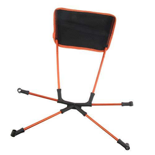 Baoblaze Chaise de Camping Pliant Lune Siège de Pêche Camping Plein Air Tabouret Coussin - Orange