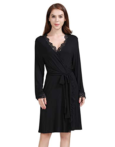Kowentik Damen Morgenmantel Lang Bademantel Spitze Pyjamas Saunamantel Schlafanzug Nachtwäsche Kimono Schwangerschaft mit Gürtel Taschen (Schwarz, M)