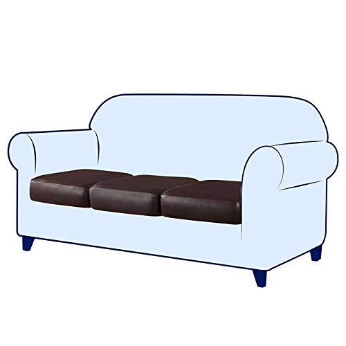 Funda de cojín elástica, de Piel sintética elástica funda de cojín para silla protector de muebles funda de sofá con parte inferior elástica para reemplazo en Sala de Estar-Marron oscuro-3-Asiento