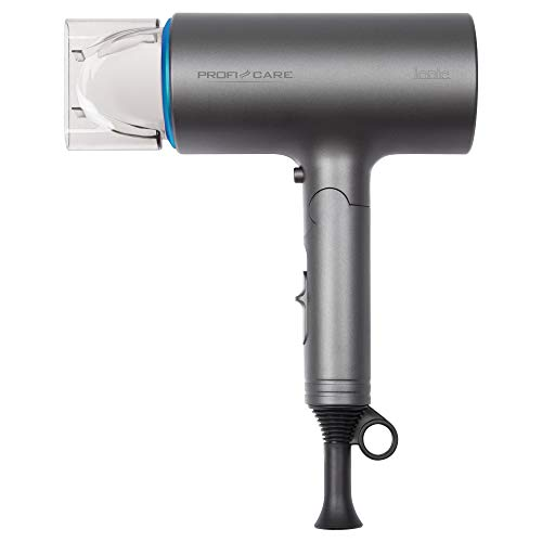 ProfiCare HT 3073 Secador Pelo Profesional Iónico, Diseño de Tubo, Mango Plegable, 3 Niveles Temperatura y Potencia, Boquilla Concentradora 360ºC, Azul, 1600W