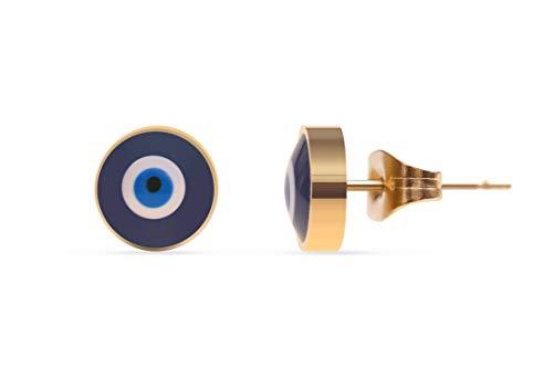 Made by Nami Filigrane Ohr-Stecker mit türkischem Auge Symbol aus Edelstahl in Gold - Ohrringe Damen-Schmuck - Geburtstagsgeschenk für Frauen und Mädchen - Nazar Boncuk Amulett Gold