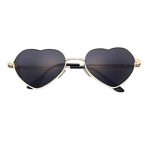Skang Herz Geformt Sonnenbrille Hochzeitsbrille Sommerbrille Sonnenbrillen mit UV Schutz Unisex Herzbrille Mit Metallrahmen(Einheitsgröße,E)