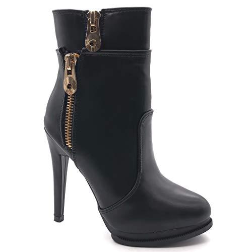 Angkorly - Damen Schuhe Stiefeletten - Stiletto - Sexy - Plateauschuhe - Reißverschluss - golden...
