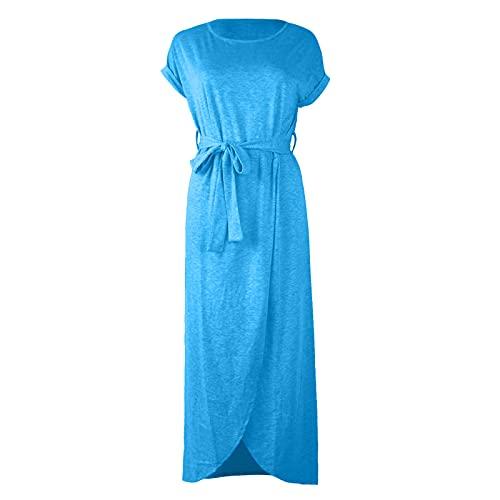PANGKII - Vestido de verano de manga corta para mujer azul celeste XXL