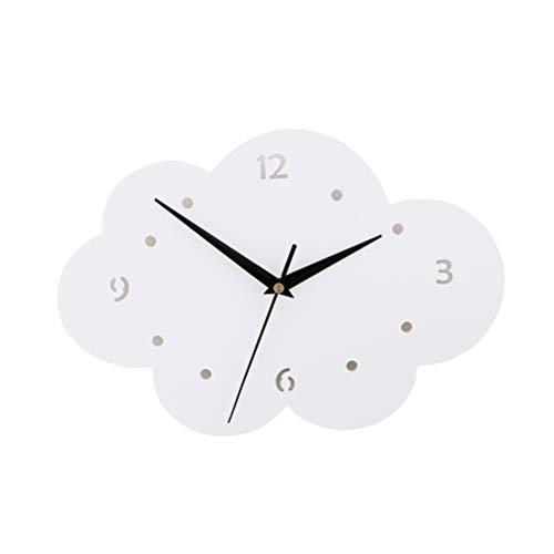 VOSAREA Reloj de pared decorativo con forma de nube, reloj de cuarzo, silencioso, sin batería, para niños, dormitorio o salón