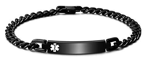 JUST MEET YOU Medical Alert ID Bracelet,Emergency Medical Alert Bracelet,Customizable Medical Id Free Engraved Stainless Steel Bracelet for Men and Women black