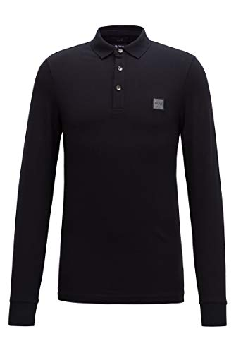 Photo of BOSS Mens Passerby Slim-fit Polo Shirt in Stretch-Cotton piqué Black