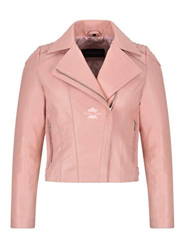 Smart Range Leather Damen Lederjacke Baby Pink Slim Fitted Biker Mode Napa Leder 4245 (44 EU)