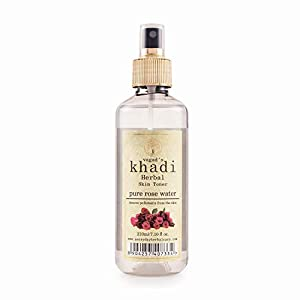VAGAD'S KHADI HERBAL GRAMODAYA Rose Water, Remove Pollutants and Impurities, Parabens Free, 210ml (Pack of 1)
