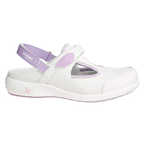 Safety Jogger Clogs for Women - Lightweight Leather Safety Shoe, Ideal for Hospital, Kitchen or Garden, Slip Resistant and Shock Absorbing Comfortable Clog, Oxypas Carin White/Purple, 4 UK 37 EU