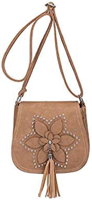 Bloomerang Women Bags Handbag Tote Over Shoulder Sling Messenge Leather Crossbody Vintage Casual Fringe Tassel Small Designer Brand Female color Khaki