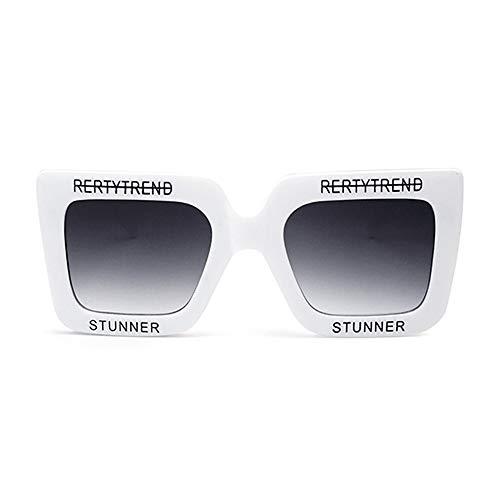 zzz Nueva Caja Grande De Plástico Gafas De Sol Personalidad Carta Gafas UV400 Protección Unisex Gris Gradiente Lente Moda Tendencia Protector (Color : White)