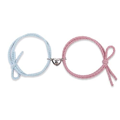 Delisouls Pulsera magnética para parejas, pulsera magnética, bonita cuerda de amistad mutuamente atractiva, ajustable, regalo para mujeres y hombres