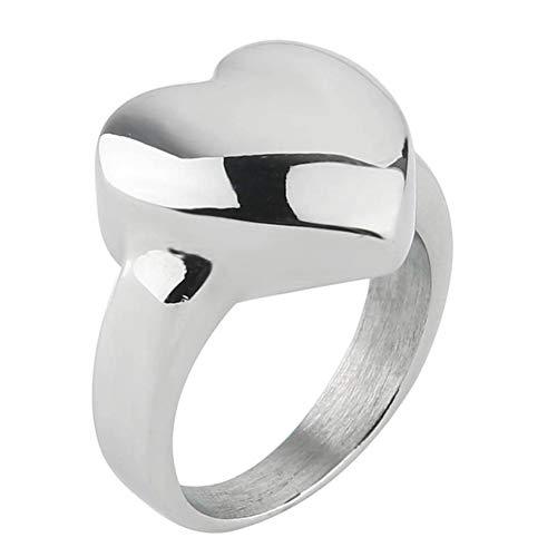 Valily vrouwen hart ring roestvrij staal eenvoudig gepolijst massief zilveren liefde ring voor vrouwen klassieke trouwringen sieraden