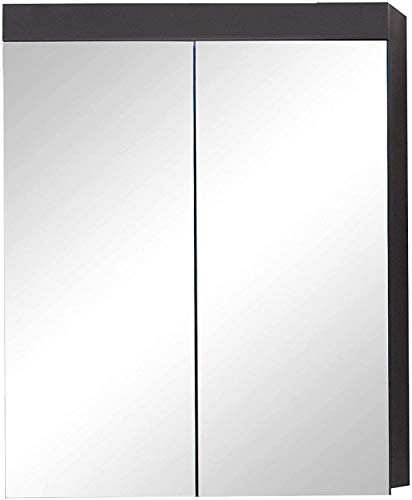 trendteam smart living Badezimmer Spiegelschrank Spiegel Amanda, 60 x 77 x 17 cm in Grau/Front Agave Grau Hochglanz mit viel Stauraum inklusive Beleuchtung