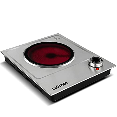 CUSIMAX Electric Burner Single Burner, 1200W Ceramic Electric Hot Plate for Cooking, Countertop...