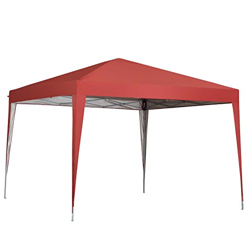 Outdoor Basic 10 x 10 ft Pop-Up Canopy Tent Gazebo for Beach Tailgating Party Red