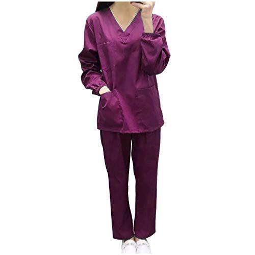 CRE87 Mann und Frauen Medizinische Krankenpflege Uniform Baumwolle Schlupfkasack+Schlupfhose Kasack Set für Medizin Pflege Krankenhaus(Lila XL)