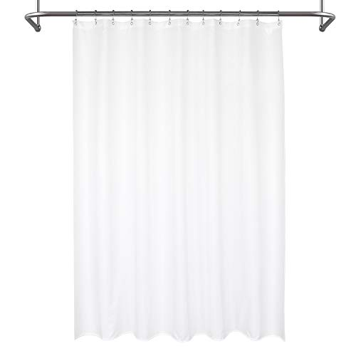 Mrs Awesome Waterproof Fabric Shower Curtain Liner, Suction Cups Included, Machine Washable Cloth Shower Curtain for Bathroom, 72 x 72 inch, White