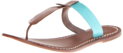 Bernardo Women's Mercer Two-Tone Flat Sandal, Luggage/Turquoise, 10 M US