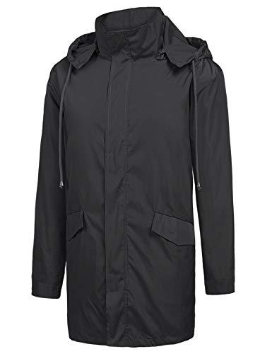ZEGOLO Men's Raincoats Waterproof Windbreaker Lightweight Active Outdoor Full Zip Hooded Long Rain Jacket Trench Coats Black X-Large