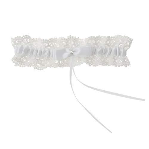 #N/A Paizhuo Spitze Braut Strumpfband Gürtel mit Schleife Braut Hochzeit Party Kleid Zubehör Cosplay Kleidung Dekoration, Polyester, weiß, Siehe Produktbeschreibung