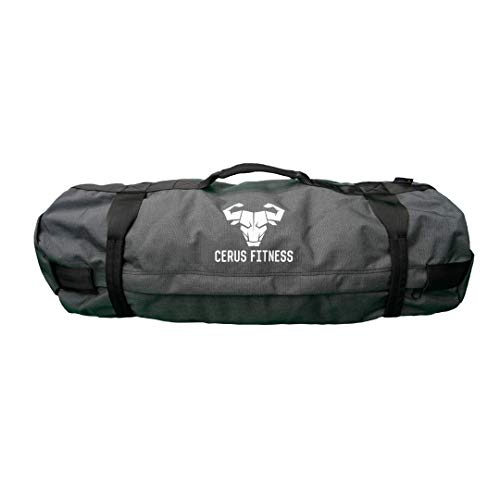 Cerus Fitness Sandbags - Sandbags for Fitness, Heavy Duty Workout Sandbags for Training, Functional Fitness, Cross-Training with Adjustable Weight (Gray, 35-75 LB)