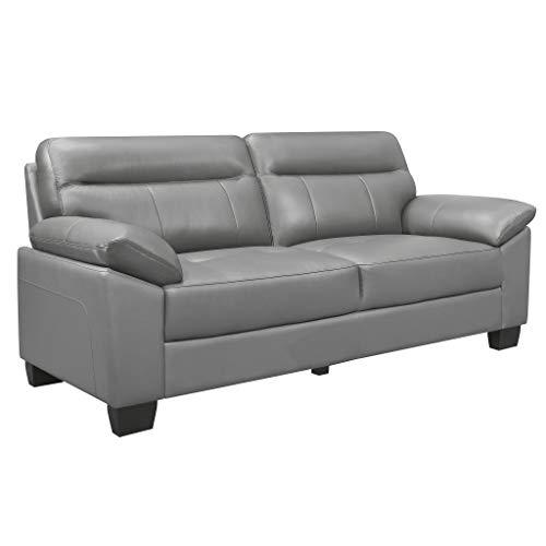 "Homelegance 81"" Leather Sofa, Gray"