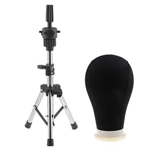 Tête de mannequin professionnelle en toile synthétique avec support trépied pour perruque Noir 61 cm