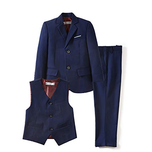 YuanLu 3 Piece Formal Boys' Suits Set with Blazer Vest and Dress Pants for Weddings Blue Size 14