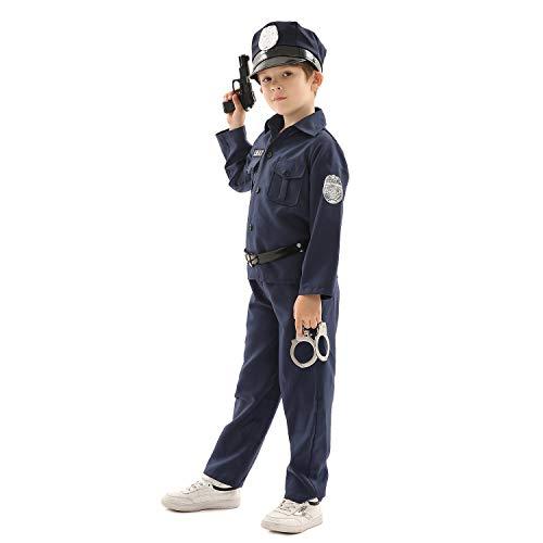 Forever Young Kinder Polizistin Kostüm Jungen Polizist Polizist Polizist Outfit Kinder Uniform Gr. 7-8 Jahre, Navy