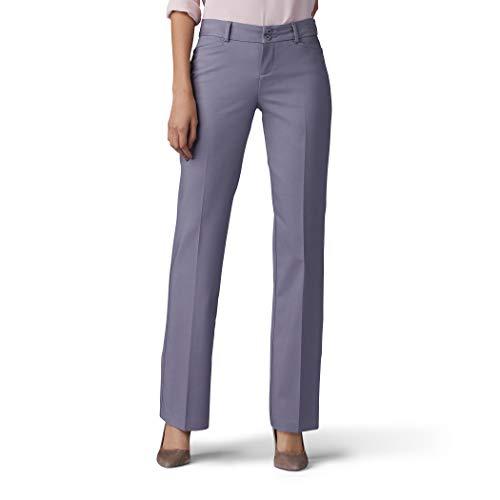 Lee Women's Secretly Shapes Regular Fit Straight Leg Pant, Boulder Gray, 14 Long