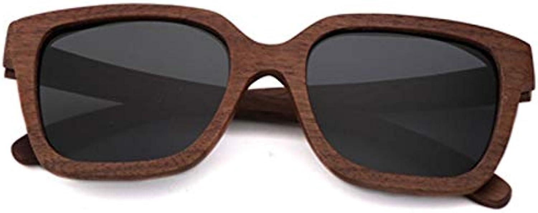 Sunglasses for Women Men Polarized Uv Predection Glasses Case Travel Essential Car Drive Wood Square Black Walnut Handmade Simple TAC Lens