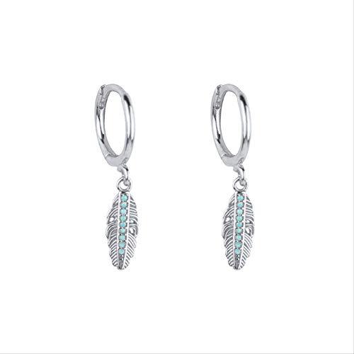 Vintage piedra azul turquesa pluma aro pendientes hoja joyería cartílago pendientes 925 plata de ley pendientes