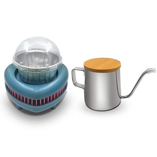 JIADUOBAO Enfriador de taza de café con enfriador portátil de camping con taza de pudín de aluminio y jarra de aluminio para oficina, hogar al aire libre (color: azul)
