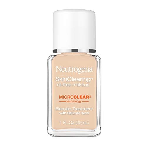 Neutrogena SkinClearing Oil-Free Acne and Blemish Fighting Liquid Foundation with Salicylic Acid Acne Medicine, Shine Controlling, for Acne Prone Skin, 30 Buff, 1 fl. oz