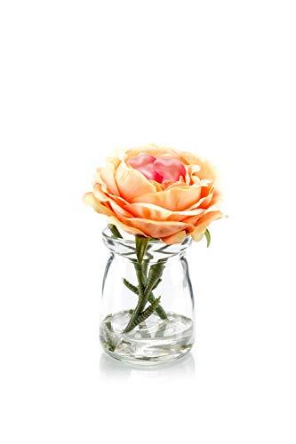 artplants.de Rosa Artificiale CUIDERU in Vetro, Arancione-Rosa, 10cm - Rosa Finta - Fiori Finti