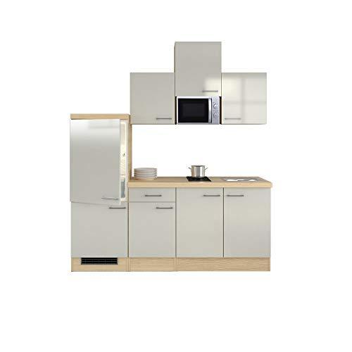MMR Singleküche DERRY - Küche mit E-Geräten - 2er Glaskeramik-Kochfeld - Mikrowelle - Breite 210 cm - Perlmutt Weiß