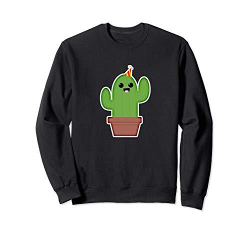 Emoji de dibujos animados de cumpleaños de cactus Sudadera