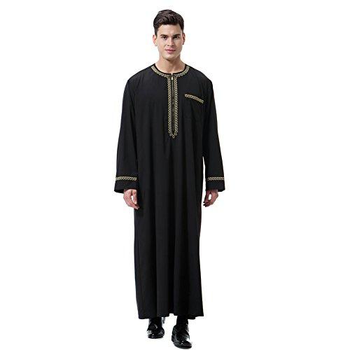 Gyratedream Thobe Männer Thobe Mens Arabic Muslimische Kleidung Herren Thobe mit Langen Ärmeln Arabisch Muslim Wear Dubai Thobe Daffah Sultan Saudi Roben Nahen Osten Traditionelle Kostüm