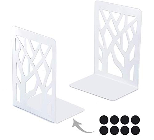 Kirbs' Kollection Bookends with Felt Pads, Metal Bookend Supports for Shelves and Desk, 2021 Heavy Duty Tree Design, 1 Pair (White)