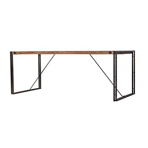 Meubletmoi Table Style Industriel/Structure métal et Plateau en Bois d'acacia / 160 x 90 cm/Facture et Finitions soignées – Collection Workshop