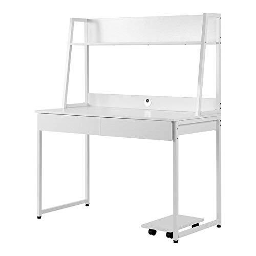Escritorio de madera MDF y acero, mesa de trabajo para oficina, hogar, mesa de oficina con estantes, 2 cajones, estantes para libros y fotos, gran superficie de 120 x 55 x 145 cm