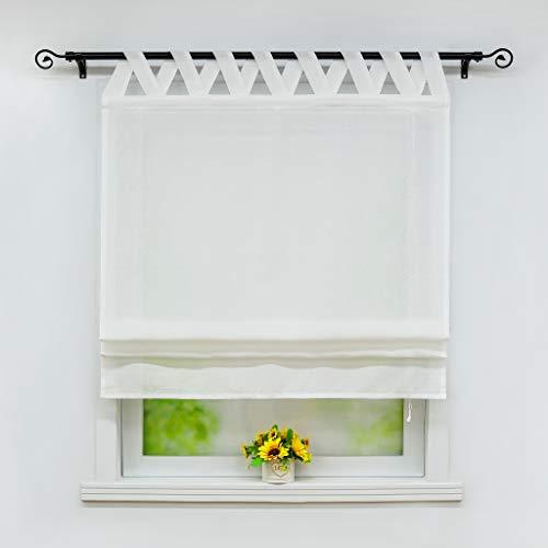 Joyswahl Raffrollo Halbtransparentes Unifarbiges Bändchenrollo »Mila« Schals mit Schlaufen Fenster Vorhänge BxH 120x140cm Weiß 1er Pack