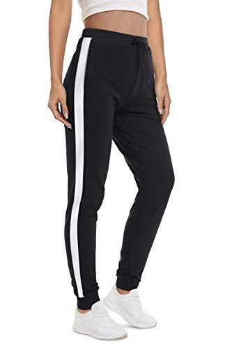 KEFITEVD Sporthose Damen Winter Lang Jogging Hose Baumwolle mit Handy Taschen Stretch Workout Pants Training Yoga Hose Atmungsaktiv Sweathose Schwarz XL