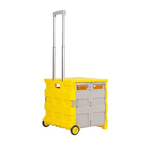 Carro de la Compra 4 Compras con Ruedas Trolley Carrito Plegable con Mango telescópico para Compras Herramientas de Equipaje Oficina Carro Utilitario