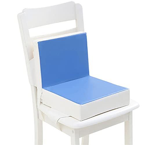 Cuscino Rialzo da Sedia per Bambini, Fansu Tinta Unita Comodo e Facile da Pulire Smontabile Regolabile Leather Cuscino Alzasedia per Seggioloni Cuscino Seduta per Sedia da Giardino (Blu)