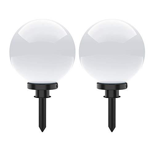 Kugelleuchte aussen, Gartenlampe 2er Set, Ø20cm, weiß | Außenleuchte spritzwassergeschützt | Gartenleuchte, E27-Fassung | Kugellampe mit Erdspieß